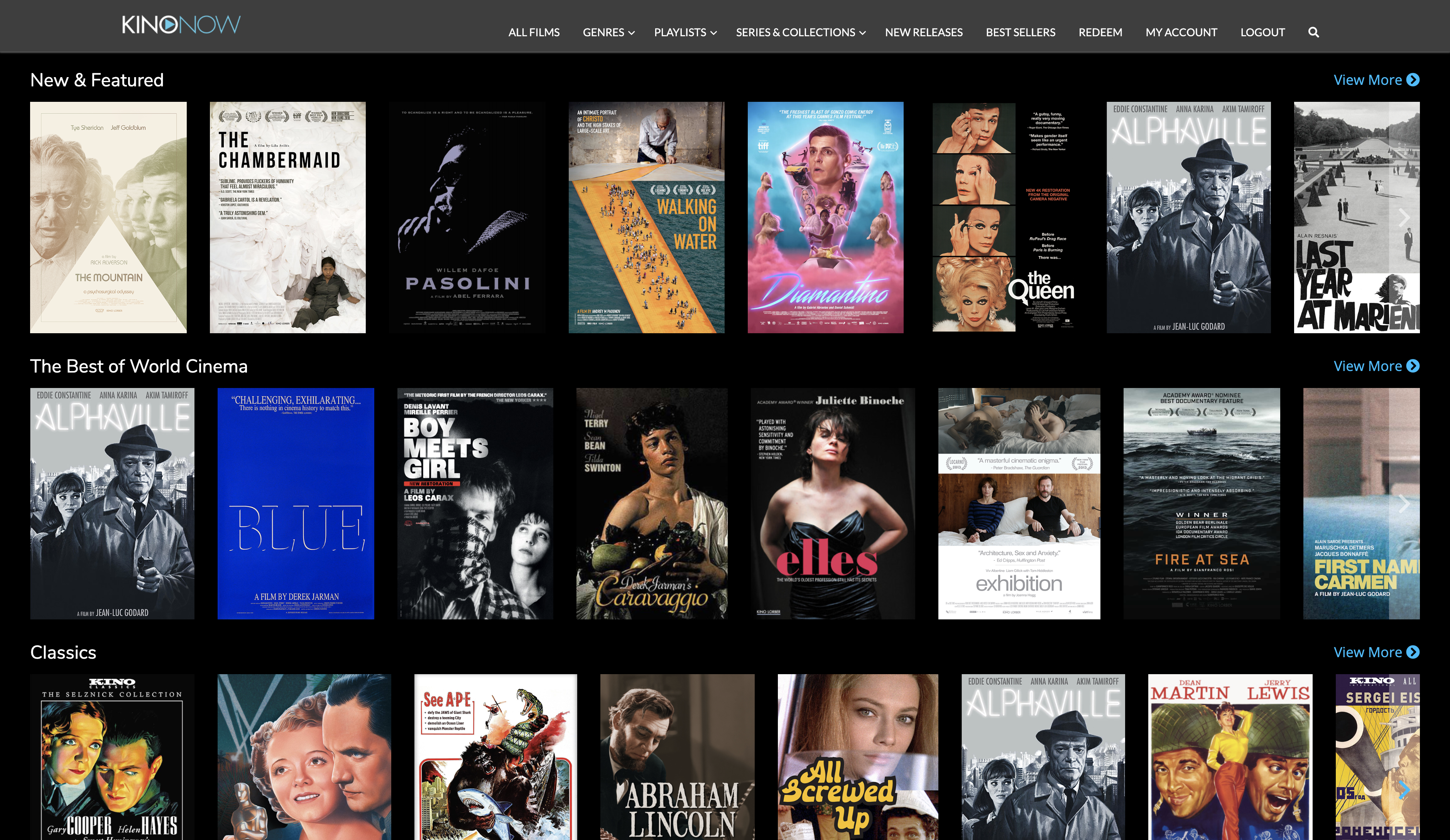 Kino Now Streaming Video Service built using Logic
